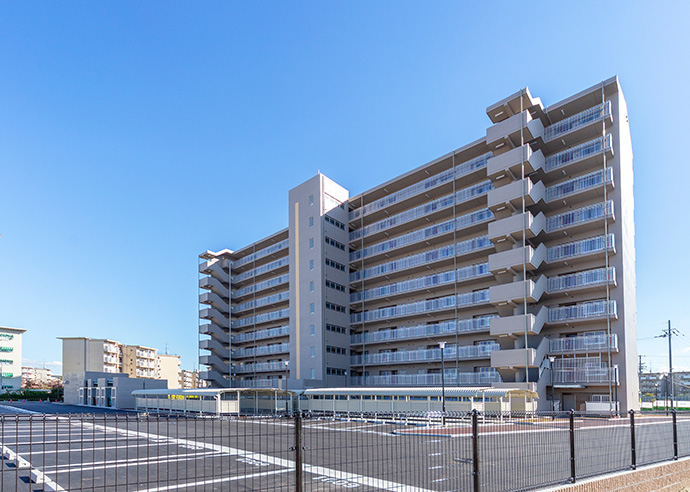 大阪府営堺宮園住宅 外観全景 北西面